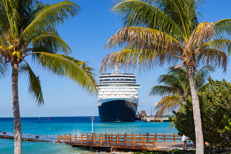 Cruiseschip en palmen in grote Turk stock foto's