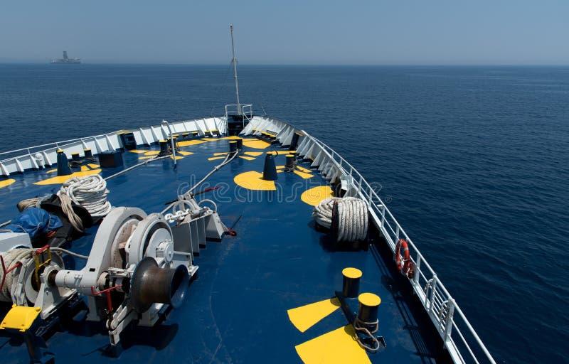 Cruiseschip foredeck stock afbeeldingen