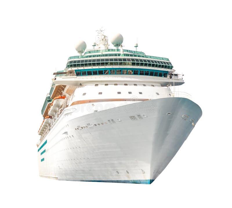 Cruiseschip op witte achtergrond, lijnboot wordt geïsoleerd die stock afbeelding