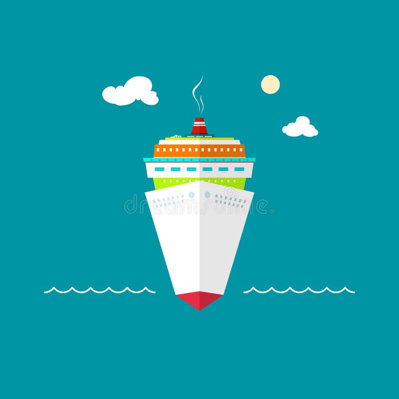 Cruiseschip op zee of in de oceaan op een zonnige dag vector illustratie