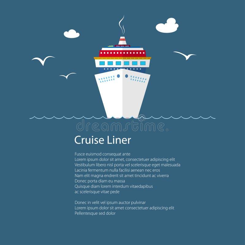 Cruiseschip op zee en Tekst royalty-vrije illustratie