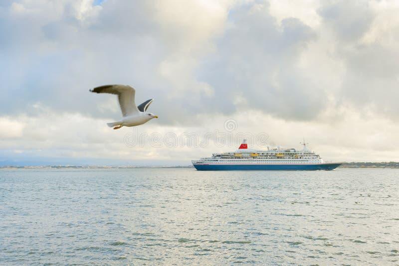 Cruiseschip seagull Lissabon, Portugal royalty-vrije stock foto