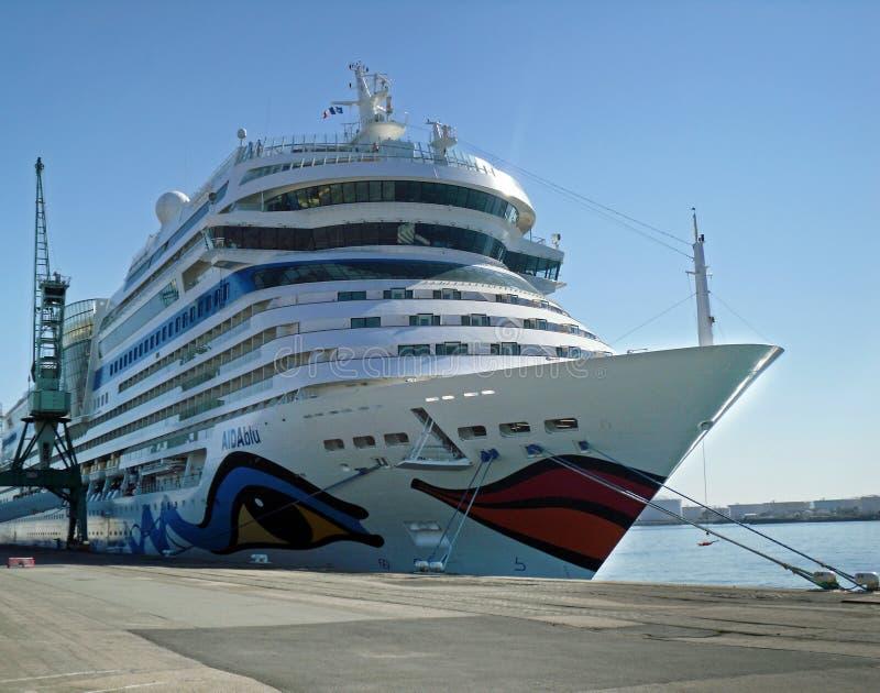 Cruiseship AIDAblu在勒阿弗尔(法国) 图库摄影
