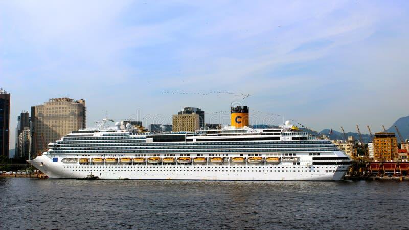 Cruiseship Costa Favolosa in Rio de Janeiro stock images