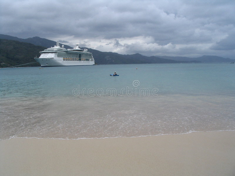Cruiseship on Haiti stock image