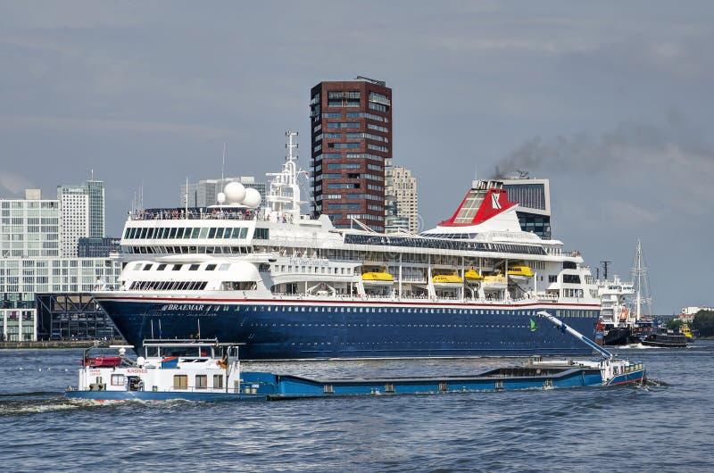 Cruiseship and inland barge royalty free stock images