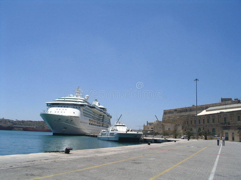 Cruiseship in malta stock images