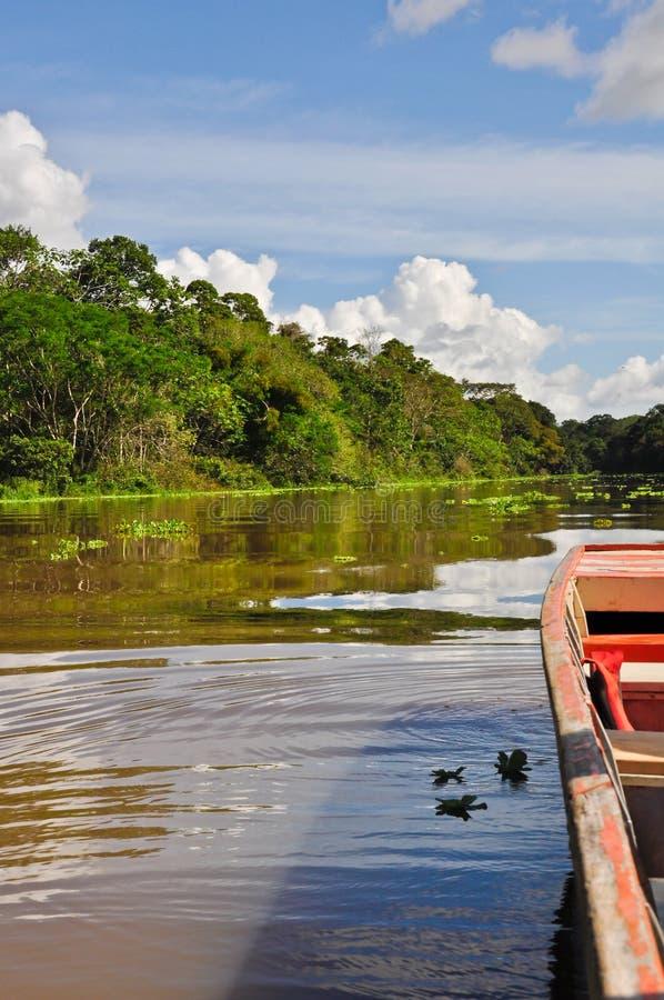 Cruising the Amazon. Boat ride along the Amazon river near Iquitos royalty free stock photos