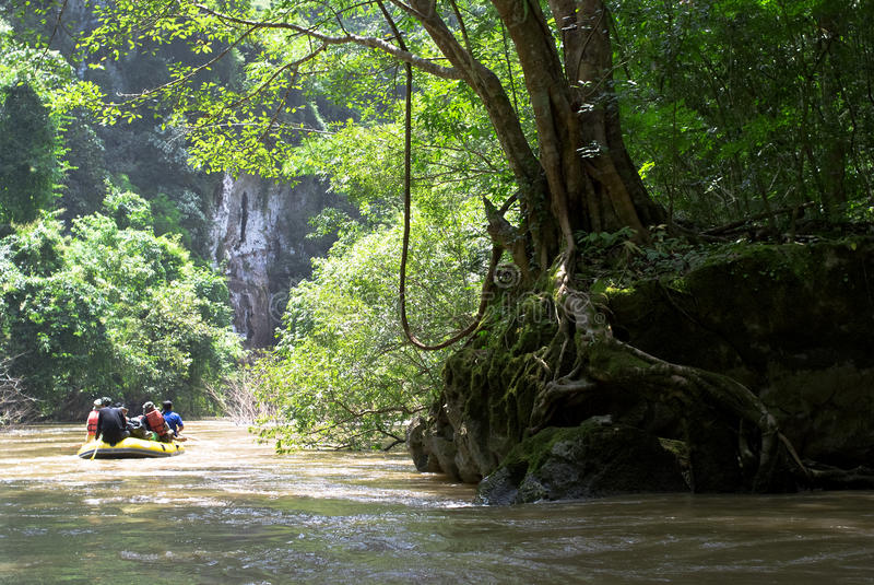 Cruising through the forest. Cruising along the river in Tak province, Thailand royalty free stock photography