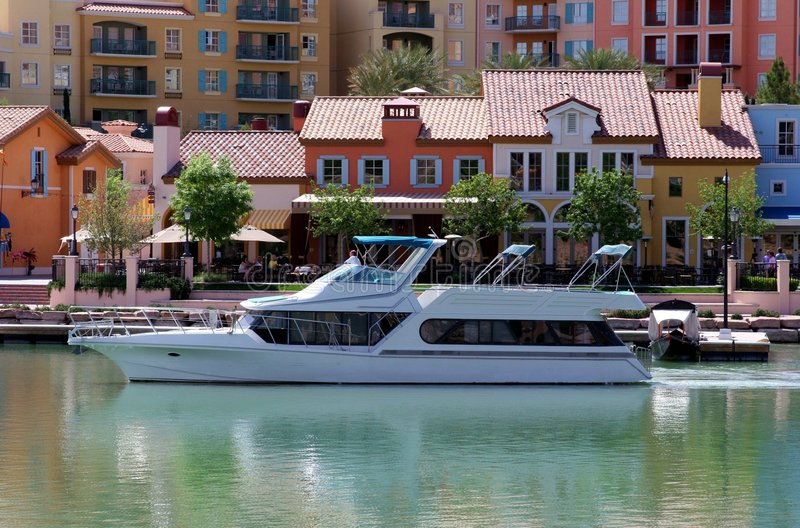 Cruising Lake Las Vegas. A luxury yacht cruising the waters of Lake Las Vegas, Nevada stock image
