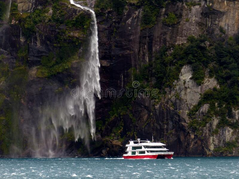 Cruising on Milford Sound NZ FZ200 stock image