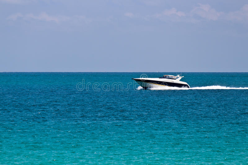 Cruising The Ocean With A Luxury Boat Stock Photo