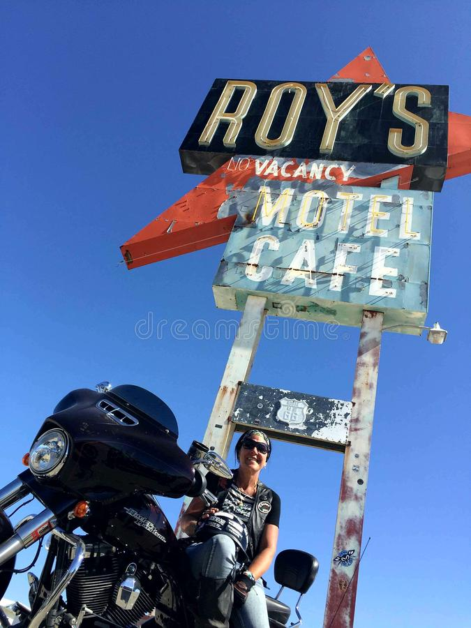 Cruising route 66 @ Roy`s cafe. Old route 66 motorcycle riding on a nostalgic trip for babes ride out royalty free stock image