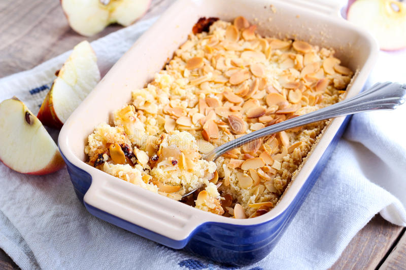 Crumble cake. Apple and almond crumble cake royalty free stock photo