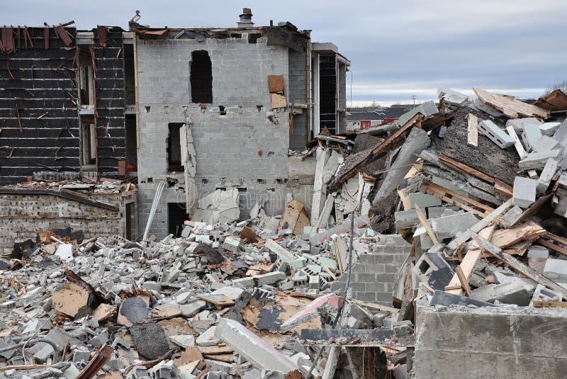 Crumbled concrete building stock photo