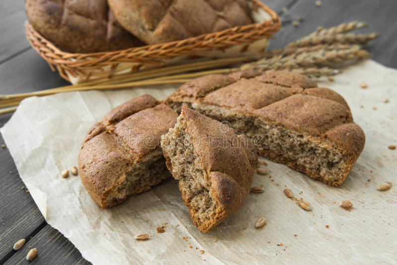 Crumbled rye bread scones royalty free stock photo
