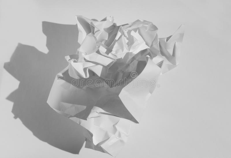 Crumbled white paper ball