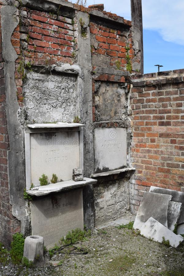 Crumbling above ground vault in Saint Louis Cemetery No. 2 royalty free stock photo