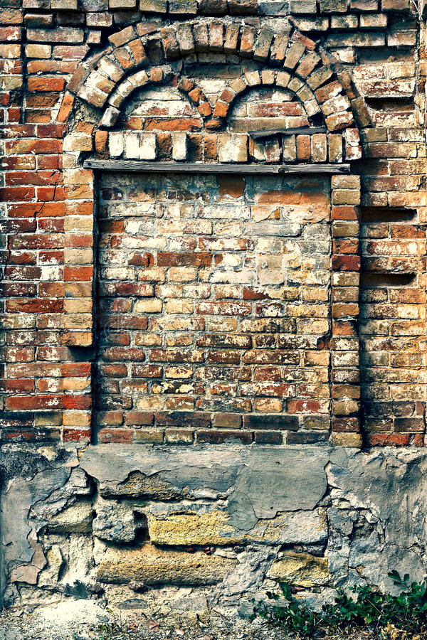 Crumbling Brick Wall With Arch Stock Photography Image