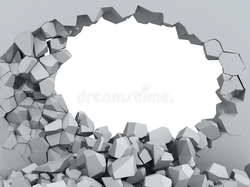 Crumbling concrete wall with hole royalty free illustration