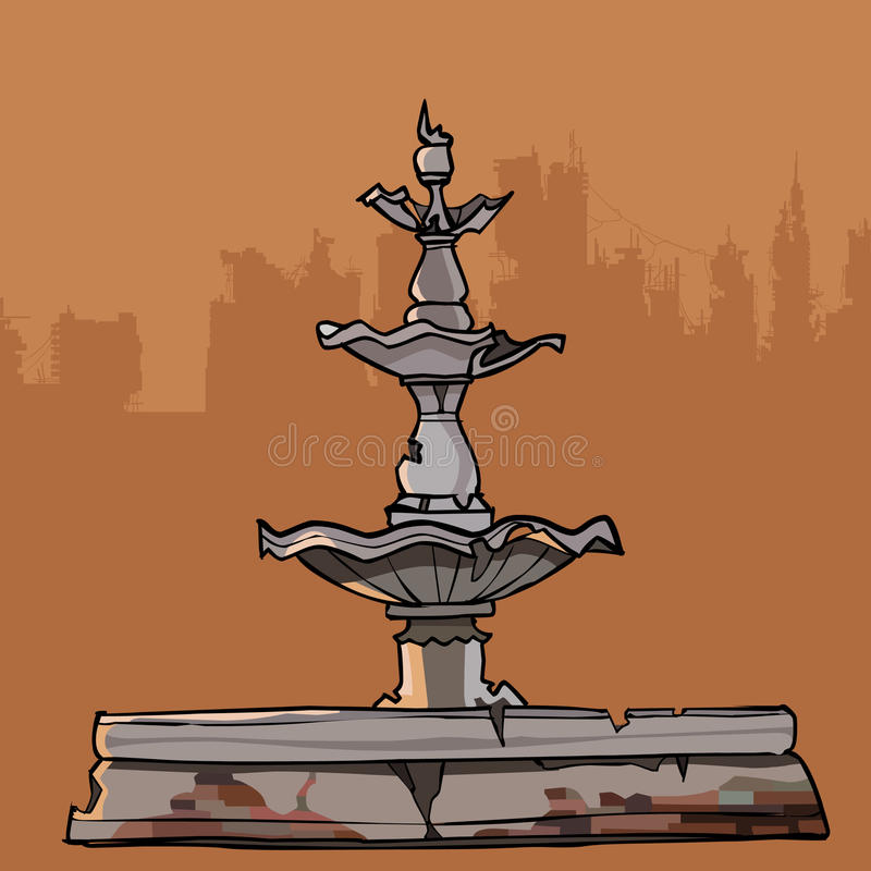 Crumbling old fountain with four bowls.  vector illustration