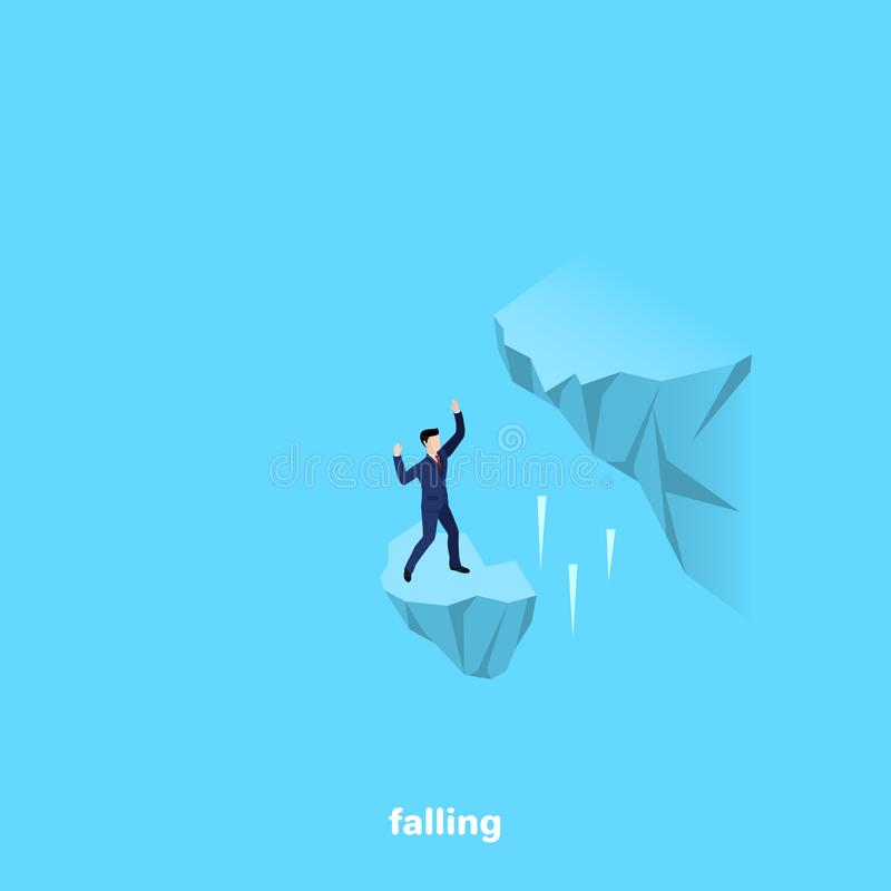 A crumbling piece of rock and a man in a business suit stock illustration
