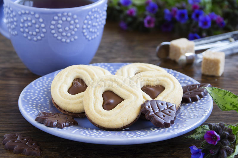 Crumbly shortbread with chocolate. Filling stock photo