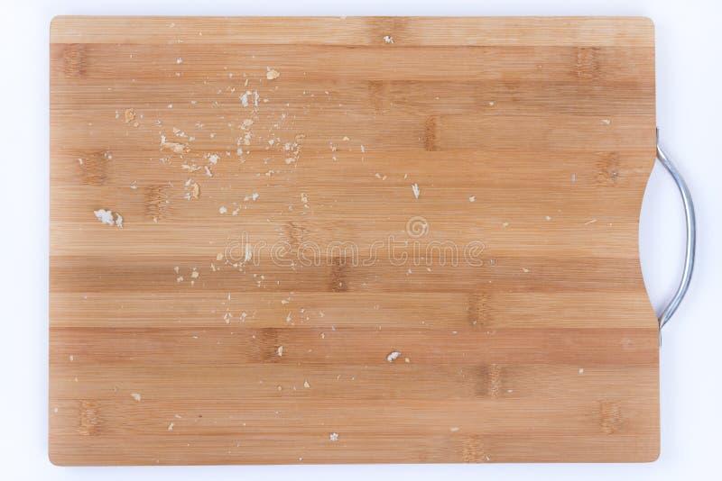 Crumbs van het close-up macrobrood op de houten raad royalty-vrije stock foto's