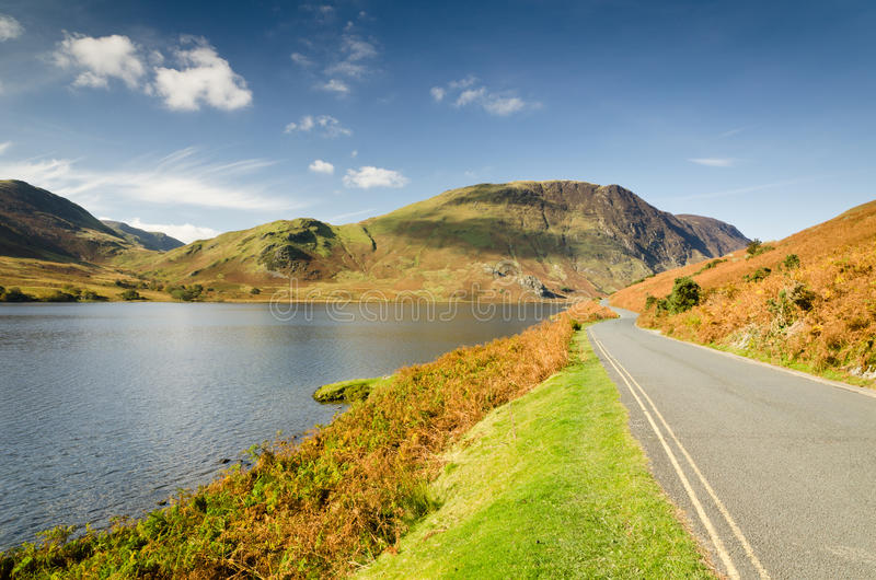 Crummock Water road. Crummock Water is in the English Lake District National Park royalty free stock image