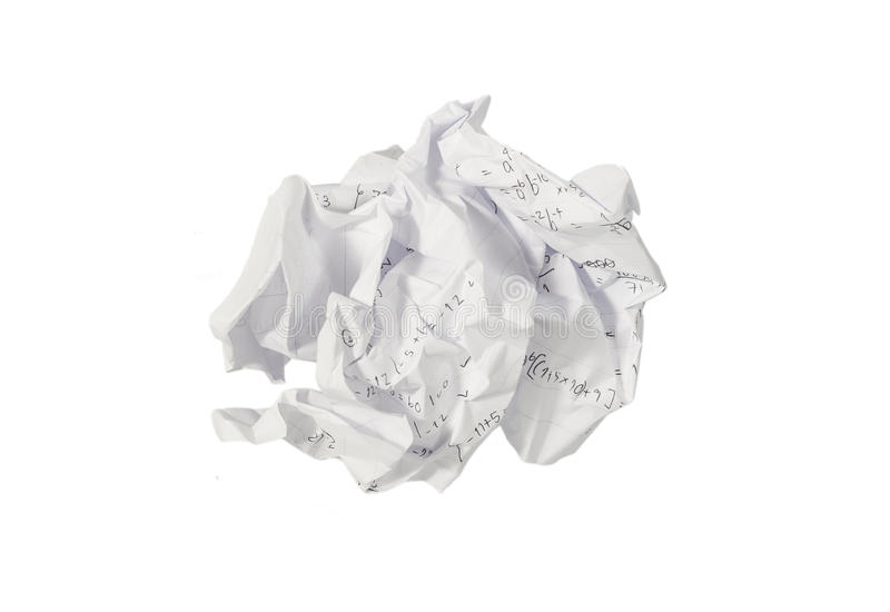 Crumple paper. Isolated on whte stock images