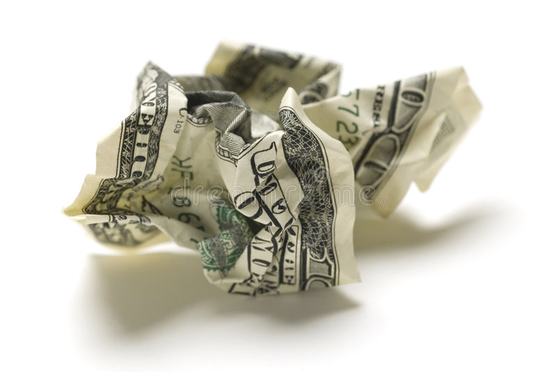 Crumpled american money royalty free stock images