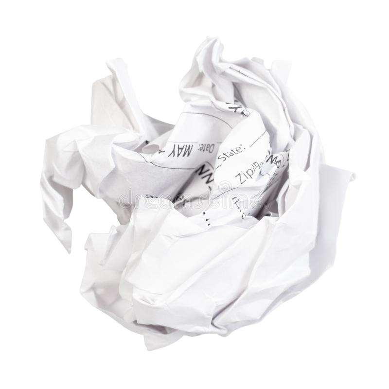 Crumpled ball from used sheet of paper cut out. On white background stock image