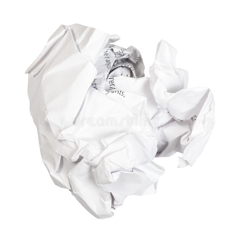 Crumpled ball from used white paper cut out. On white background stock image