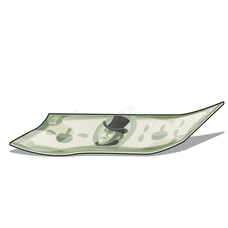 Crumpled banknote isolated on white background. Vector cartoon close-up illustration. Crumpled banknote isolated on white background. Vector cartoon close-up stock illustration