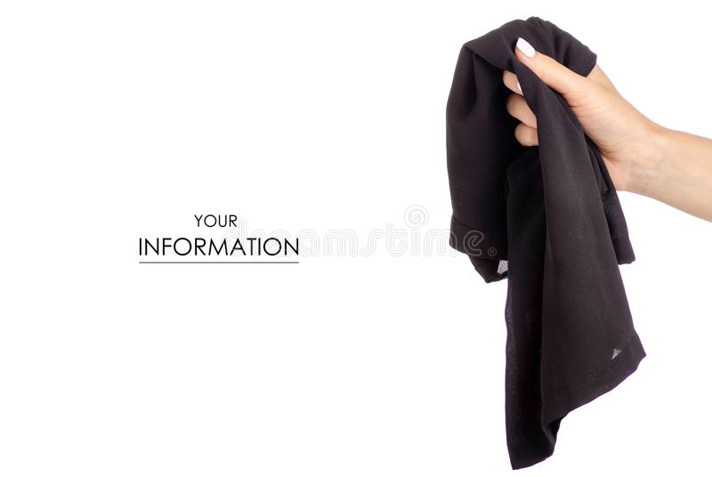 Crumpled black T-shirt in hand clothes fabric zipper pattern. On white background isolation stock photos