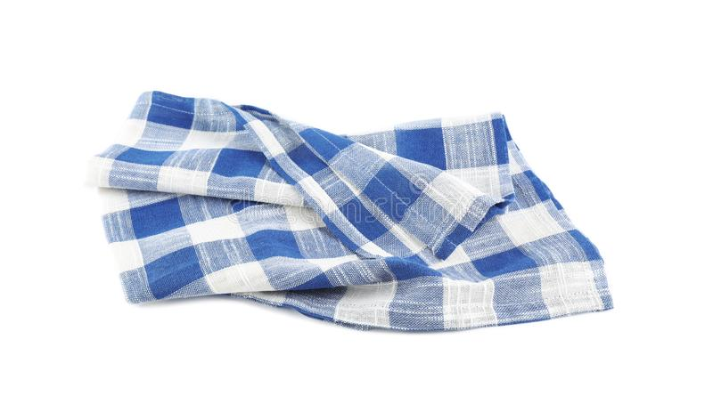 Crumpled blue checkered kitchen towel on white. Background royalty free stock image
