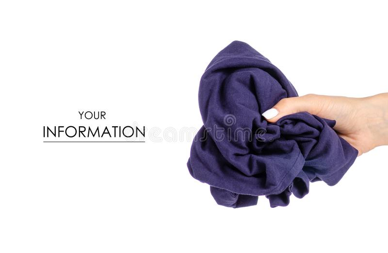 Crumpled blue T-shirt in hand clothes fabric pattern. On white background isolation stock photos