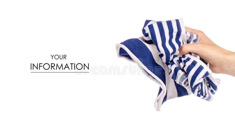 Crumpled blue white stripe T-shirt in hand clothes fabric pattern. On white background isolation royalty free stock photos