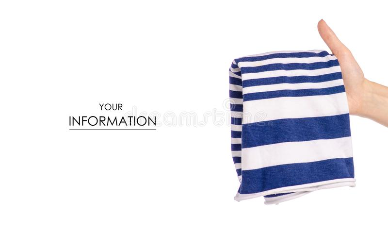 Crumpled blue white stripe T-shirt in hand clothes fabric pattern. On white background isolation royalty free stock image