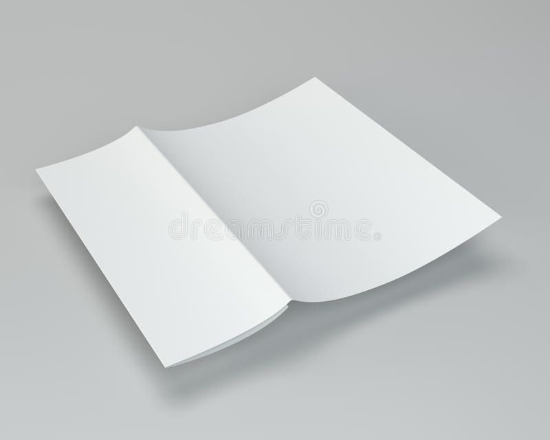 Crumpled dobló el papel A4 representación 3d en fondo gris foto de archivo