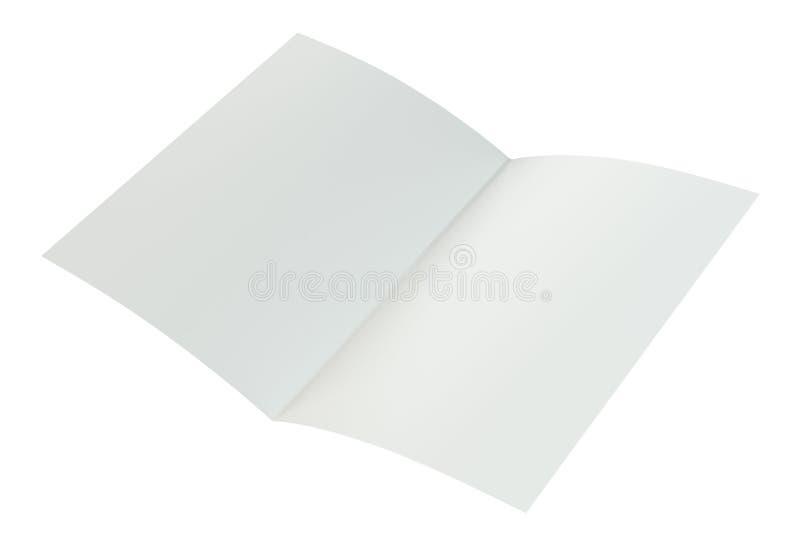 Crumpled dobrou o papel A4 rendição 3d no fundo branco ilustração stock