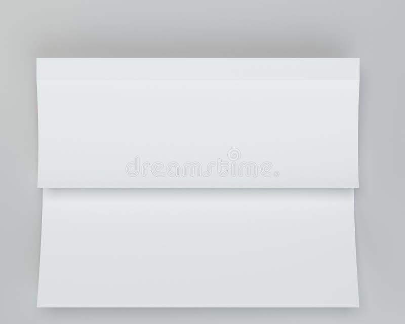 Crumpled dobrou o papel A4 rendição 3d no fundo cinzento ilustração royalty free