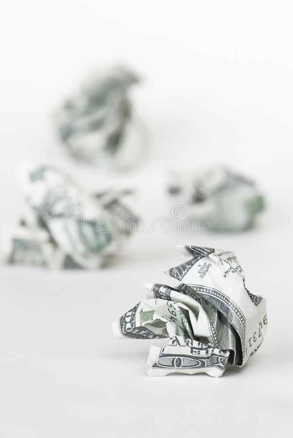 The crumpled dollars. Crumpled dollar bills with selective focus stock photography