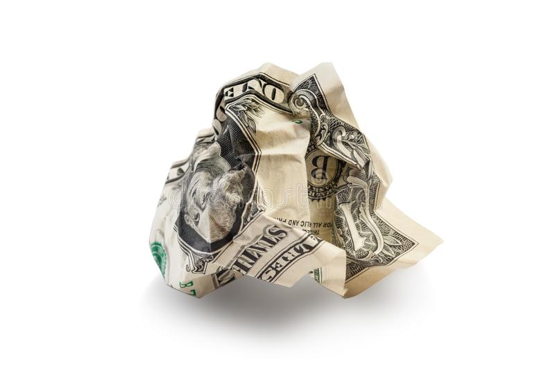 Crumpled geknitterter Dollar lokalisiert auf Weiß stockfotos