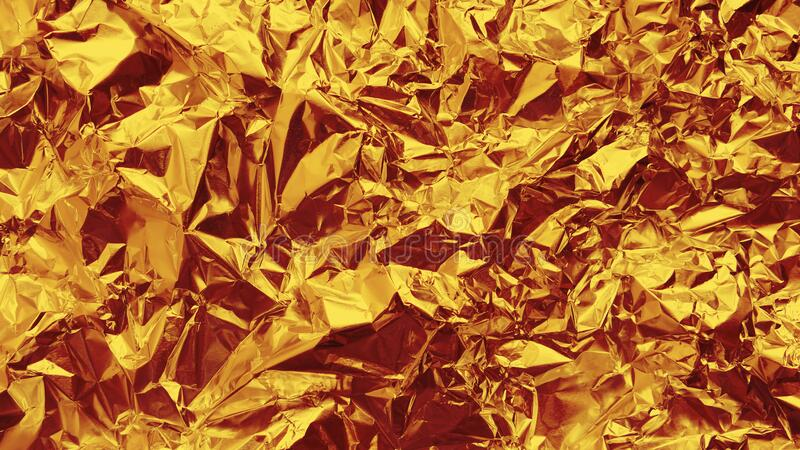 Crumpled gleaming gold foil stock photo