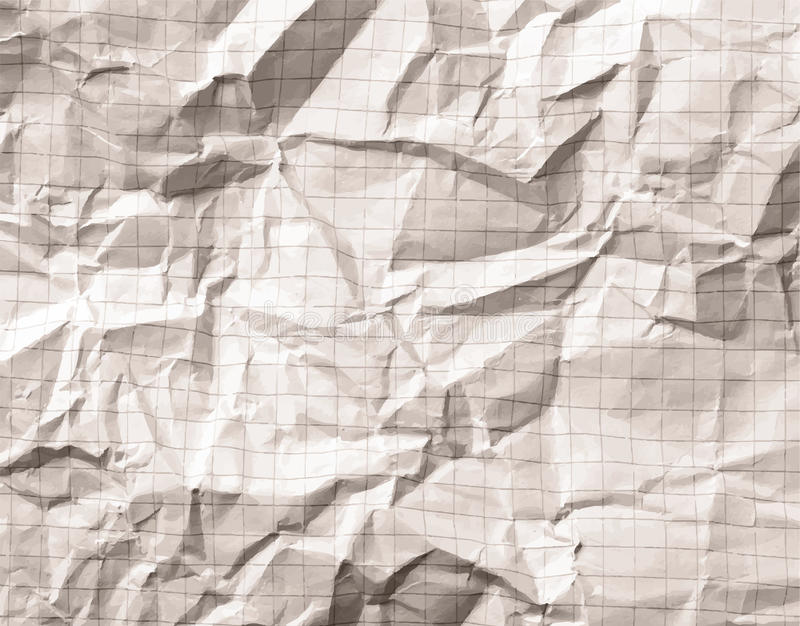 Crumpled Gray Blank Math, Grid Paper Background Stock Vector ...