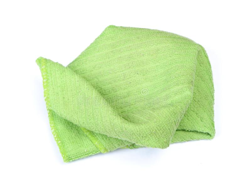 Crumpled green rag. Isolated on white background royalty free stock photo