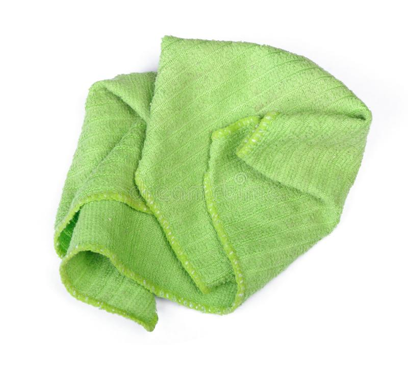 Crumpled green rag. Isolated on white background stock photos