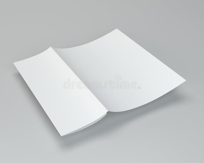 Crumpled ha piegato la carta A4 rappresentazione 3d sul fondo grigio fotografia stock