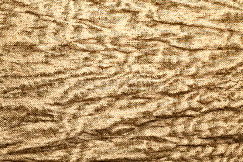 Crumpled jute bag background stock photo
